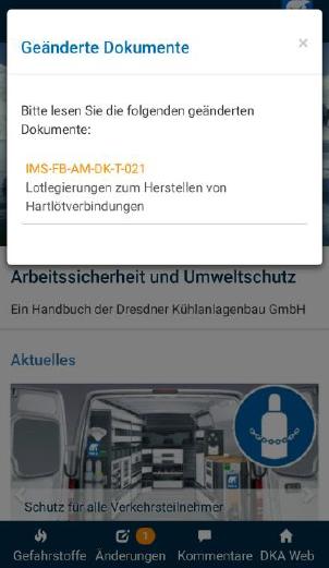 Hinweis auf Änderungen in der Dokumentation erscheinen als Hinweis in der App