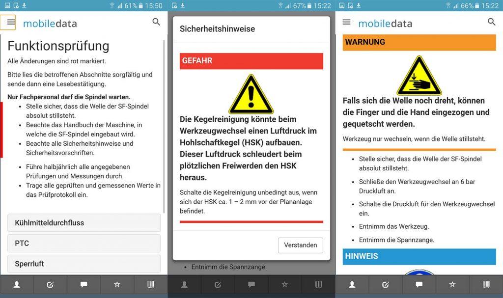 Hinweis auf Aktualisierungen, Bestätigung von Gefahrenhinweisen, Ansicht von Warnungen