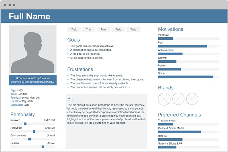 Screenshot Xtensio User Persona