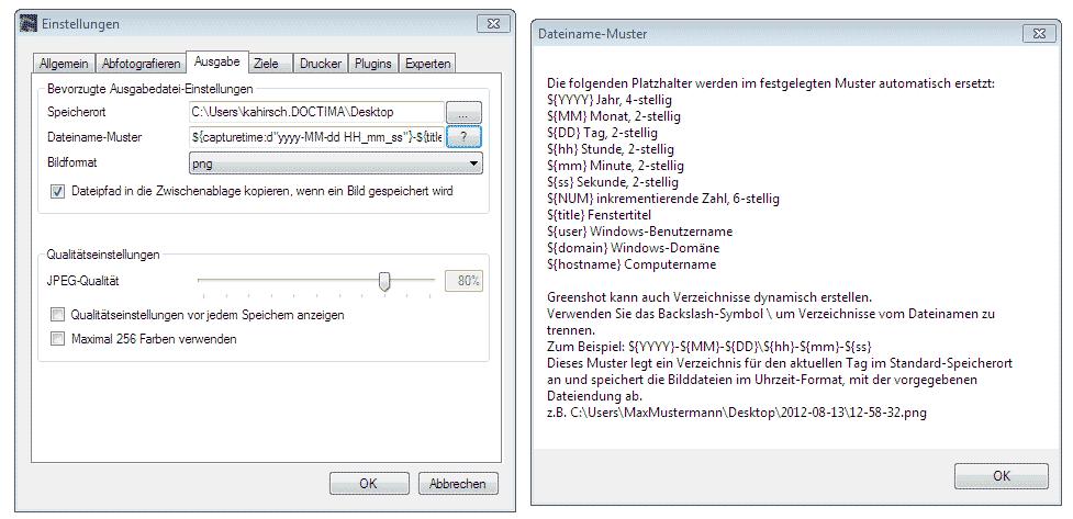Einstellungen zur Ausgabedatei bei Greenshot, Screenshot