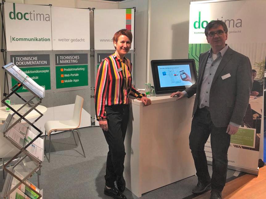 tekom Frühjahrstagung 2019 in Wien, Stand doctima mit Katrin Thurnhofer und Markus Nickl