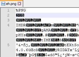 Ein PNG-Bild im Texteditor geöffnet