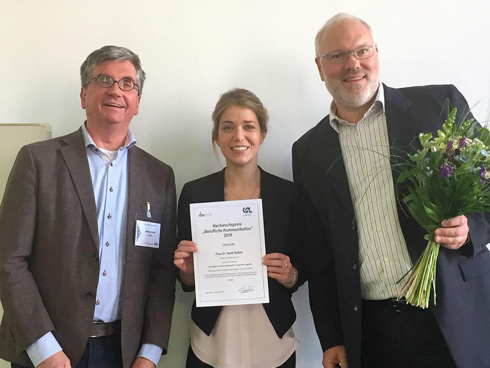 Nachwuchspreis Berufliche Kommunikation, Markus Nickl (doctima), Heidi Seifert, Marcus Bieswanger (Präsident der GAL)