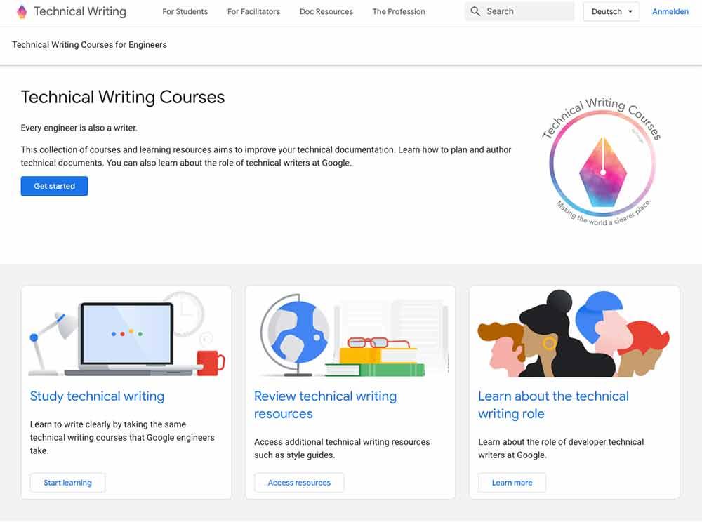 Startseite Google Technical Writing Kurs
