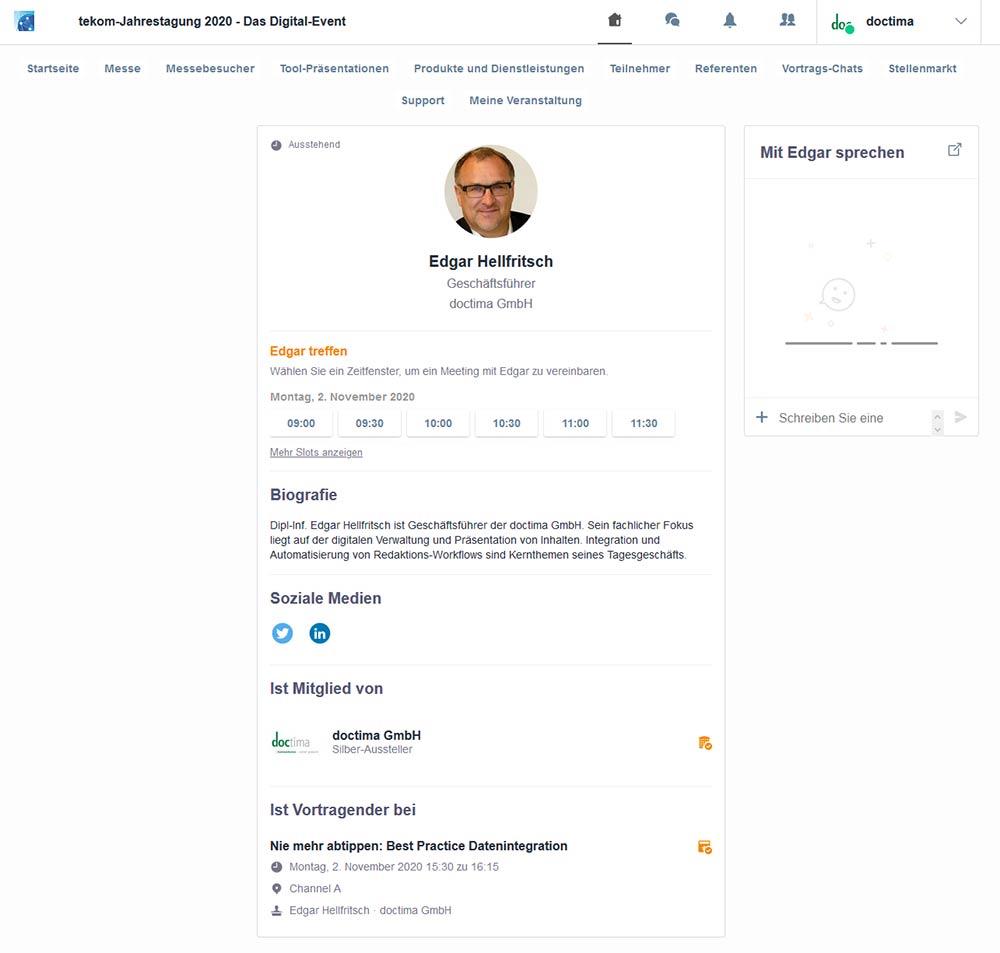 virtuelle Messe, tekom2020, Profil in der Event-App