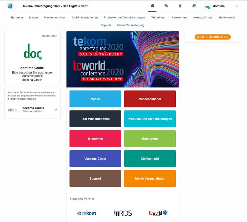 Die virtuelle Messeplattform der tekom Jahrestagung 2020