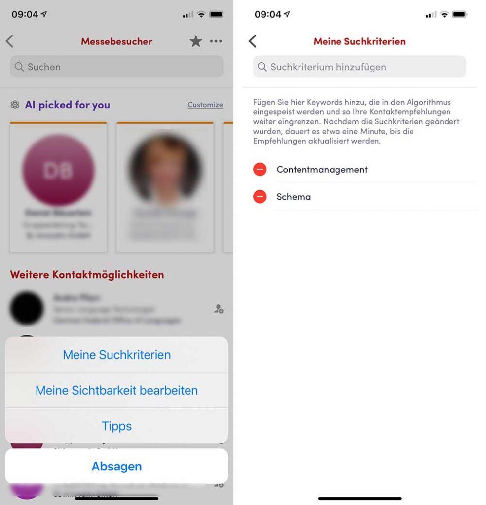 tekom 2020, swapcard, suchkriterien in der app einstellen