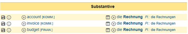 Screenshot aus dem Online-Wörterbuch Leo: Beispiel für Wörterbücher, Übersetzung von Rechnung