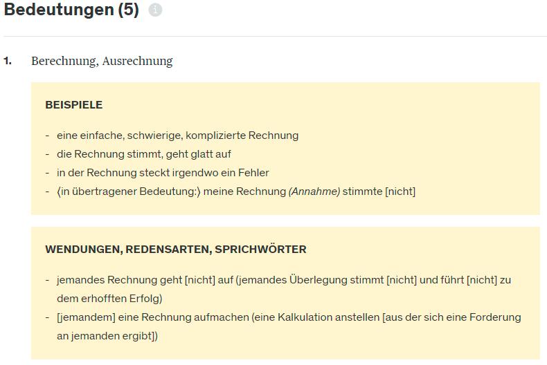 Screenshot aus dem Online-Wörterbuch Duden zum Begriff Rechnung mit Beispielen, Wendungen und Redensarten