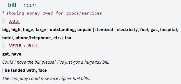 Screenshot aus dem Online-Kollokationswörterbuch Ozdic: Detailinformationen zur Verwendung von bill